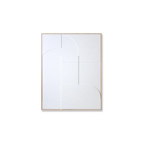 HK Living Kader met kunst in reliëf wit (60x80)
