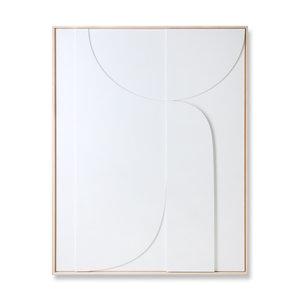 HK Living Kader met kunst in reliëf wit b (97x120)