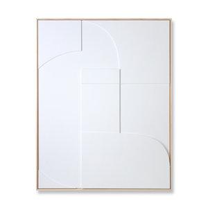HK Living Kader met kunst in reliëf wit a (97x120)
