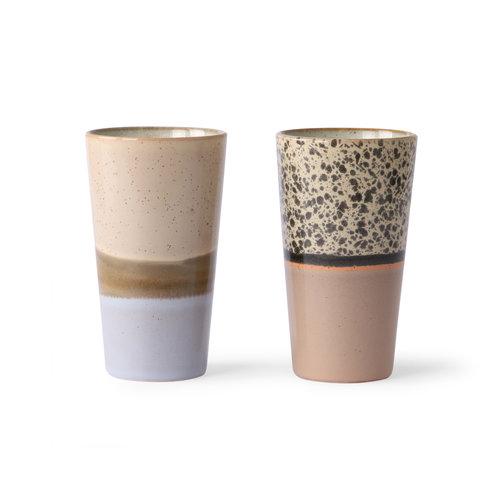 HK Living 70's latte mok - set van 2
