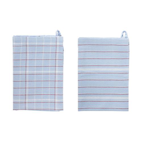 Hübsch Keukenhanddoek blauw-wit-rood Set van 2