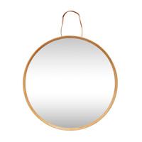 Spiegel met houten rand natuur/leer