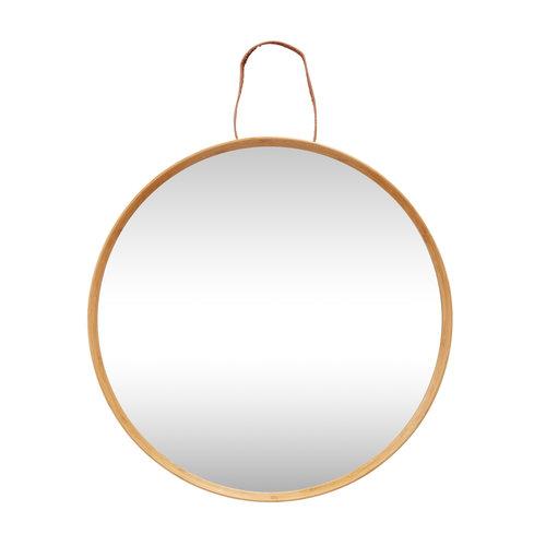Hübsch Spiegel met houten rand natuur/leer
