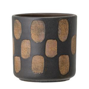 Bloomingville Avo deco bloempot zwart terracotta