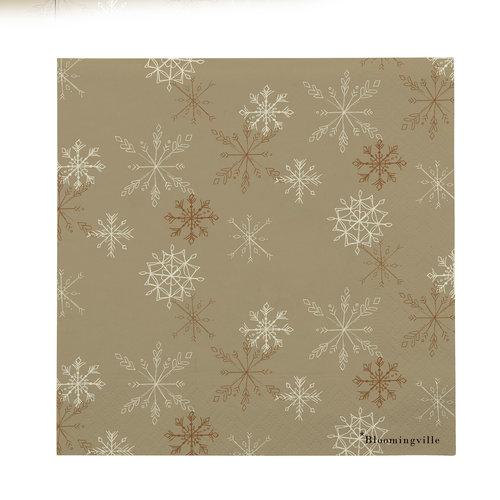 Bloomingville Servetten beige papier met ijskristallen