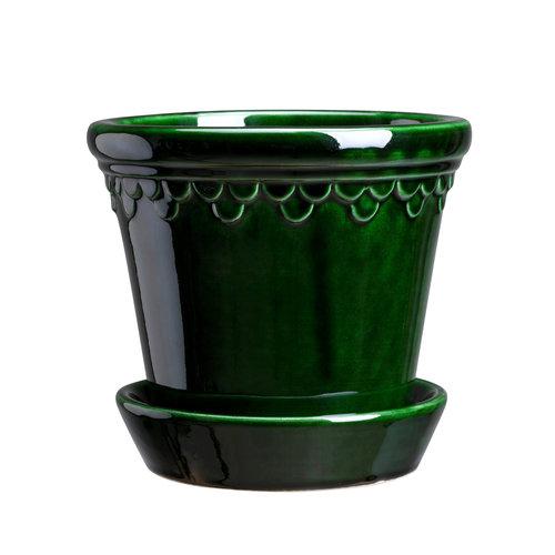 Bergs Potter Kopenhagen bloempot met schotel geglazuurd smaragdgroen 16 cm