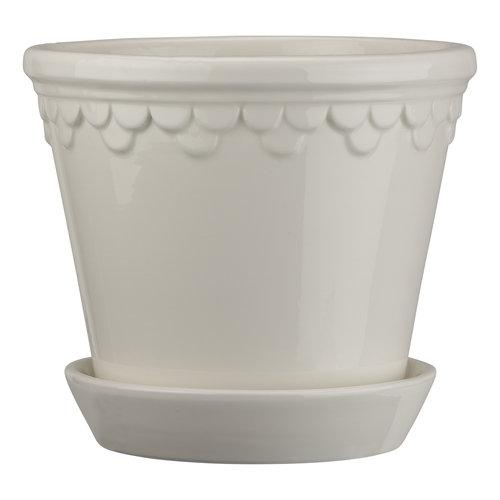 Bergs Potter Kopenhagen bloempot met schotel geglazuurd wit 25 cm