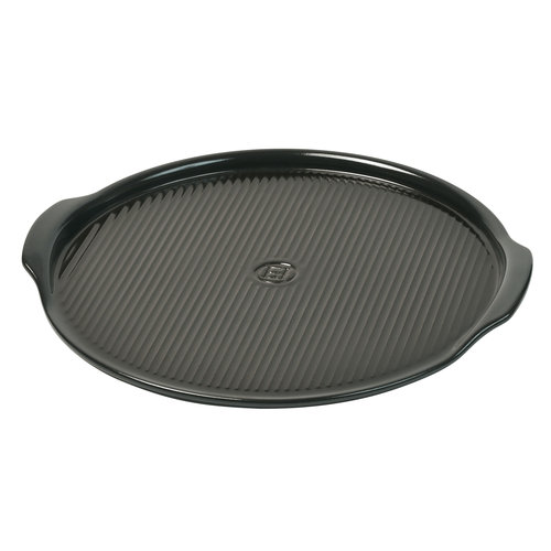 Emile Henry Pizza steen gegroefd  charcoal Ø35cm
