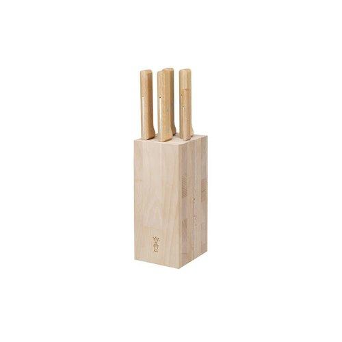 Opinel Parallèle messenblok brood met 5 messen beukenhout