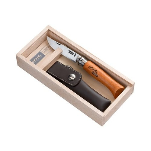 Opinel Carbon giftbox zakmes nr.08 staal/hout