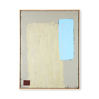 Abstract schilderij pistache/blauw