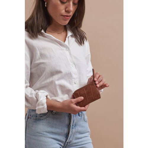 O My Bag Coco geldbeugel - croco classic leather cognac