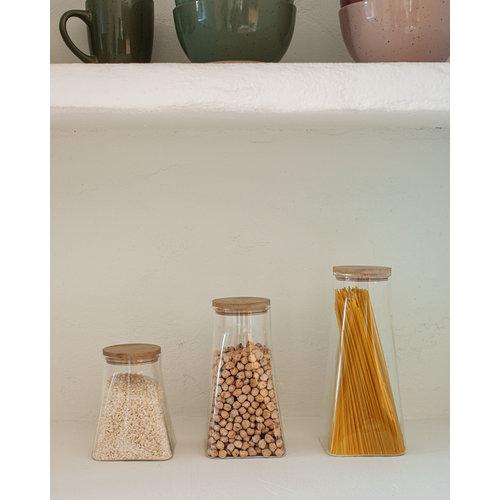 Kave Home Adalis kleine doorzichtige glazen voorraadpot
