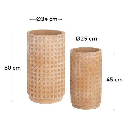 Kave Home Celi terracotta plantenbakken - set van 2 - Ø 34 cm en Ø 25 cm