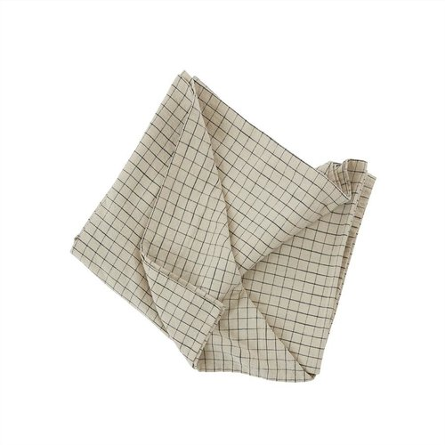 OYOY Living Design Grid tafelkleed clay/black