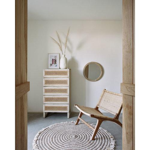 Kave Home Aluin ronde spiegel mindi hout Ø 50