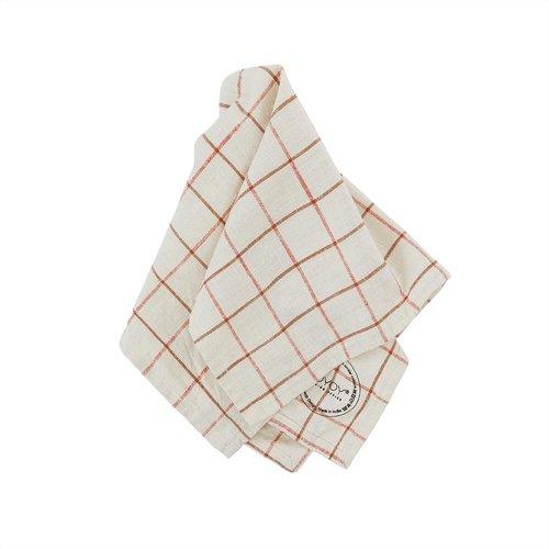 OYOY Living Design Grid servet gebroken wit/rood - set van 2