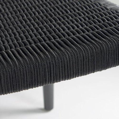 Kave Home Nina eetkamerstoel massief eucalyptus mat zwart koord Zwart