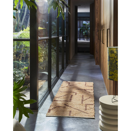HK Living Handgeweven katoenen tapijt peach/mocha 70 x 200