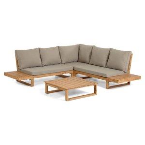 Kave Home Flaviina loungeset 5-zits hoekbank acaciahout