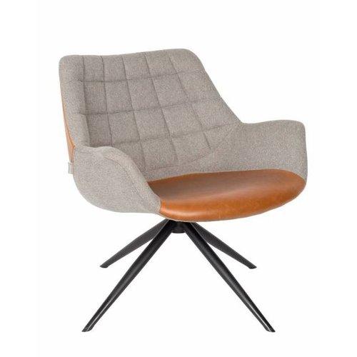Zuiver Doulton vintage bruin lounge stoel