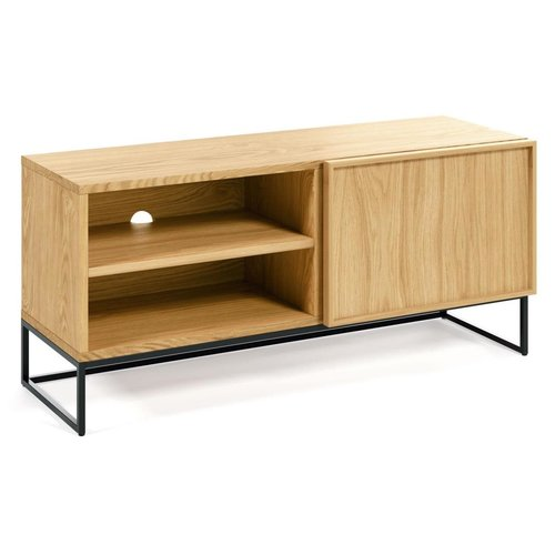 Kave Home Taiana tv-meubel half open eikenfineer/staal 112 x 42 x H 51 cm