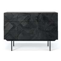 Graphic commode teakhout -  3 lades