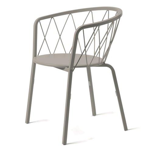 Vermobil Désirée metallo tuinstoel met armleuningen grey mud incl. rug-en zitkussen - TOONZAALMODEL