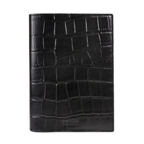O My Bag Notebook cover - croco classic leather black