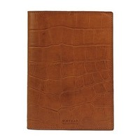 Notebook cover - croco  classic leather cognac