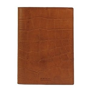 O My Bag Notebook cover - croco  classic leather cognac