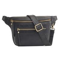 Beck's bum bag zwart croco leder met zwarte croco riem