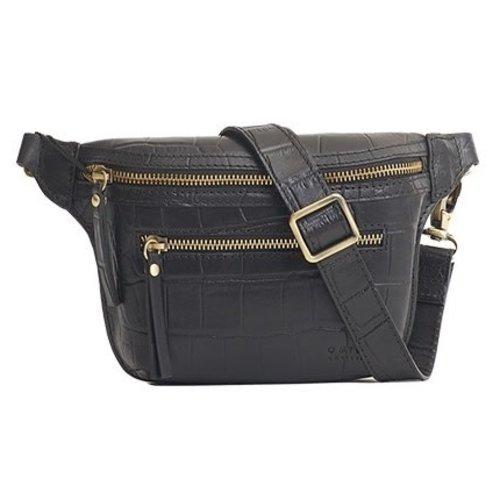 O My Bag Beck's bum bag zwart croco leder met zwarte croco riem