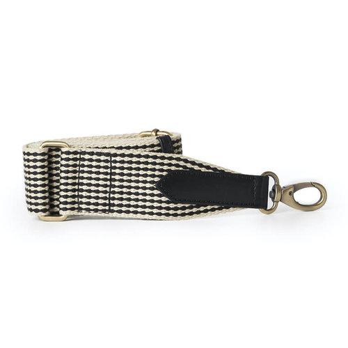 O My Bag Webbing riem checkered met zwart classic leder