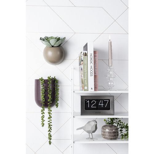 Present Time Ovale bloempot muur donker paars 19 x 14,8