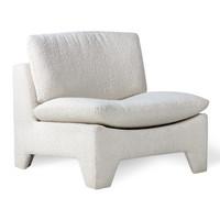 Retro lounge fauteuil bouclé cream