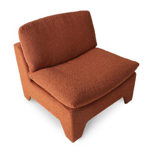 HK Living Retro lounge fauteuil bouclé brick