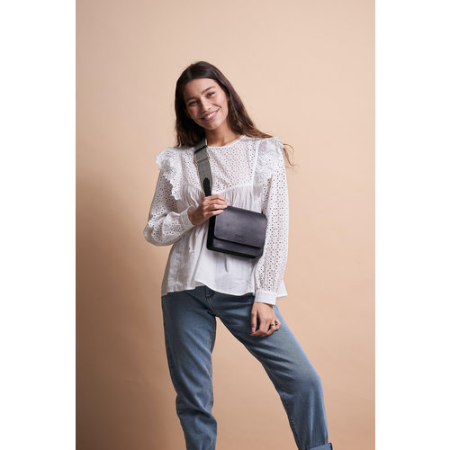 O My Bag Audrey Mini handtas zwart classic leder met twee riemen