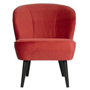 WOOOD Sara fauteuil fluweel Framboos