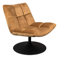 Bar fluweel lounge stoel golden brown