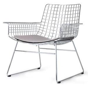HK Living Draad lounge stoel zilver met zitkussen