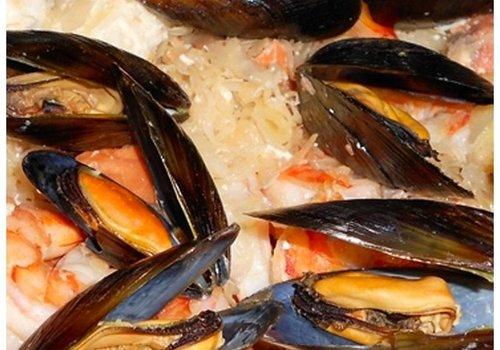 Fried mussels with summer sauerkraut