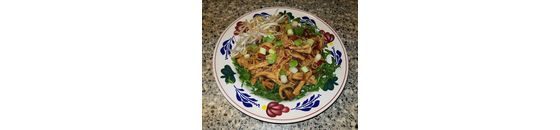 Oriental wok dish with plucked chicken a la Sandra