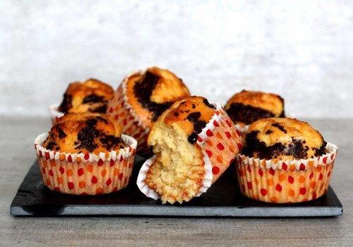 Caramel muffins met choco topping