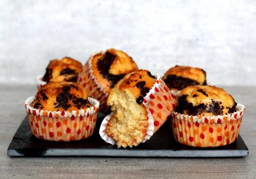 Caramel muffins with chocolate topping