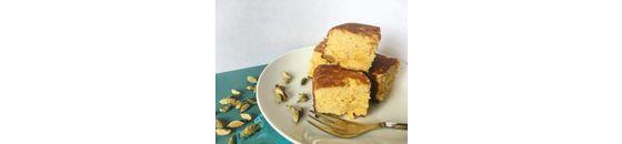 Apricot coconut cardamom cake