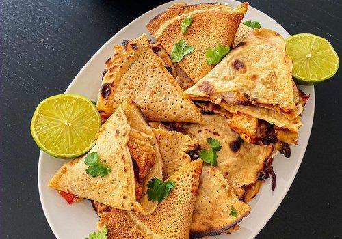 Glutenvrije quesedilla's met kip in Mexicaanse stijl