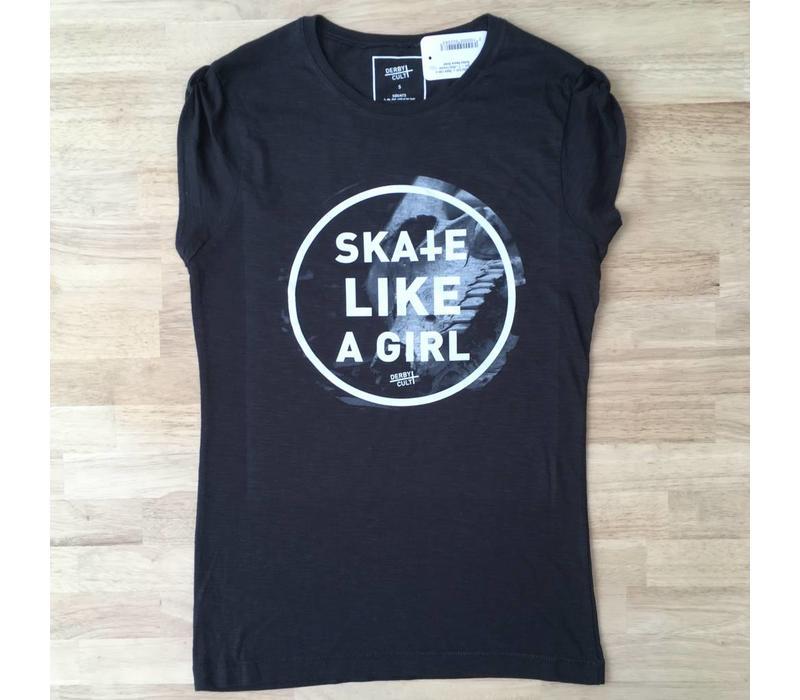 Derby Cult + Skate Like a Girl - T-Shirt Female Rolled Sleeve