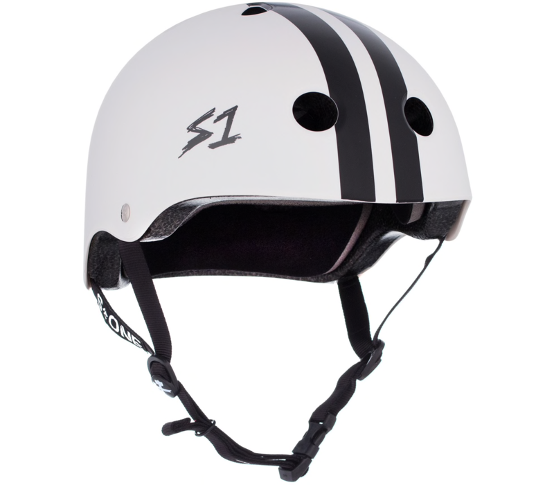 S1 Lifer Helmet White w/ Black Stripes
