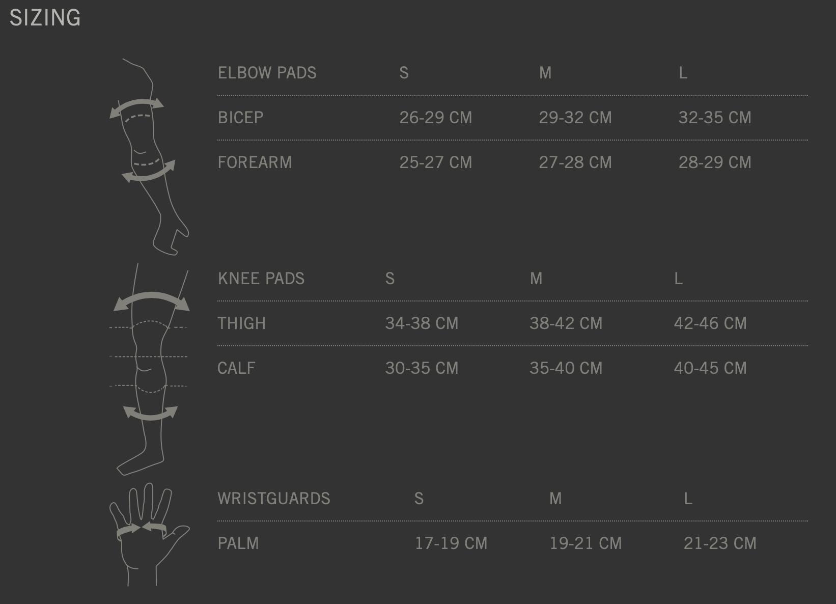 TSG Basic Set Size Chart